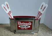 Vintage 1960 Rheingold Chrome Beer Caddy/swizzle Stick Holder And 4 Foam Paddles