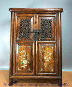 24 Old Chinese Huanghuali Wood Shell Hand Carving Flower Bird Wardrobe Cabinet