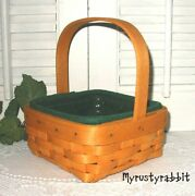 Longaberger 2002 Tarragon Booking Basket And Ivy Liner And Protector