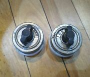 Pair Of Antique Rotary Snap Switches Single Pole Porcelain Handh Hart And Hegeman