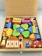 Sevi Italian Wood Toy Set Town People Cars Pretend Play Stackable Create Storage