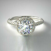 Natural 0.95 Ct Diamond Women Engagement Halo Ring Solid 14k White Gold Size 6 8