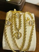 18k 750 Fine Saudi Real Gold 20andrdquo Womenandrsquos Heart Necklace Ring 5.5-6andrdquo 3mm 8.1g