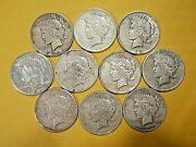Lot Of 10 Silver Peace Dollars 19221923 1926 1934 Coins Half Roll Cull