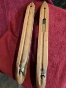 Two Antique Large Wooden Loom Shuttle Net Making Tools Primitive Weaving