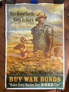 Vintage Original Wwii Poster Our Good Earth Keep It Ours 40andrdquo X 60andrdquo Huge On Linen