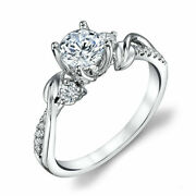 0.74 Ct Real Diamond Women Engagement Ring Solid 14 K White Gold Ring Size 7 8