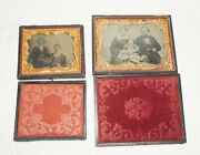 2 Antique Daguerreotypes Or Tintype Photos Of Family In Cases With Gold Mats