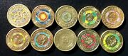 Two Dollar Coins Australia Coloured Lot Of 10x Gold Poppy 2012