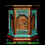 Old Year Turquoise Red Glaze Porcelaine Gold Dragon 6 Fang Pen Holder