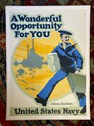 Original Wwi Poster A Wonderful Opportunity For You Us Navy. Linen Backed 1917