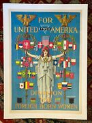 Vintage Wwi Poster Ywca Division For Foreign Born Women C 1918 Linen Backed
