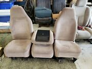 92 96 Ford Truck Bronco Bucket Seats With Center Seat / Console Mocha Tan Used