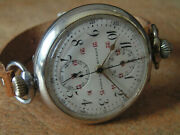 Antique Rare Oversize Zivy And Cie A Paris Wristwatch Chronograph From Wwi Period