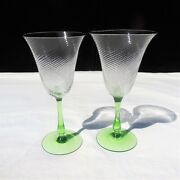 2 Clear Depression Spiral Glass Cup 8+ Oz Goblets With Green Glass Stem
