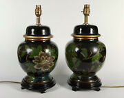Pair Vintage Hand-painted Oriental Ginger Jar Table Lamps - Birds And Flowers