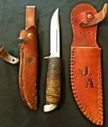 Western Hunting Knife Stainless Steel Usa Sh48a Leather Wrap-ca1970's 2- Sheaths