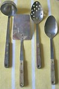 Vintage Set Of 4 Robinson Ss Pierced And Solid Spoons, Spatula And Ladle Wood Hdls