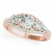 Natural 1.50 Ct Diamond Women Engagement Rings Solid 14k Rose Gold Ring Size 9 8