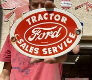 """Ford Tractors Farm Machinery 6"""" Porcelain Feed Seed Gas Oil Metal Sign"""