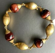 Huge French 18k Yellow Gold Tigers Eye Cabochon Vintage Bracelet Textured