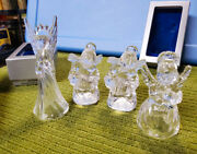 4 Vintage Mikasa Clear Crystal Angels Christmas Ornament In Original Boxes
