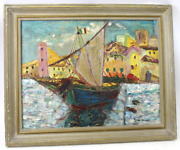 Signed Guido Odierna 1913-1991 Village Harbor With Boat