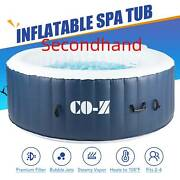 Secondhand 4-person Inflatable Spa Tub W 120 Jets And Hot Tub Cover For Backyard