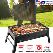 Bbq Barbecue Grill Foldable Charcoal Stove Camping Garden Outdoor Travel Grill
