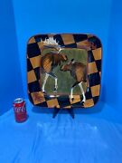 Rare Zrike Outpost Moose Square Platter By S. Riggsbee White Discontinued