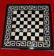 Check Pattern Black Stone Game Table Top Marble Dining Table For Home 36 Inches