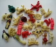 1940and039s Vintage Cracker Jack Celluloid Charm Premium Toy Prize Lot Of 25 1