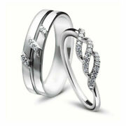 0.17 Ct Natural Diamond Engagement Couple Band 14k White Gold All Size Available