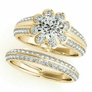 Solitaire 1.60ct Round Real Diamond Wedding Ring Band Set 14k Yellow Gold Size 5