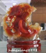 Distinctive China Natural Agate Onyx Carving Magpie Birds Flower Cucumber Statue