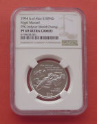 Isle Of Man 1994 Ppg Indycar World Championship 10 Pounds Silver Coin Ngc Pf69uc