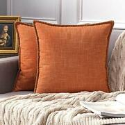 Pack Of 2 Decorative Fall Throw Pillow Covers Farmhouse 20and039and039x20and039and039 Orange New