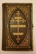 Vintage/rare 1865 The Holy Bible Illustrated Leather Bound W/brass Clasp Closure
