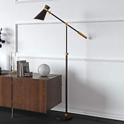 Hennandhart Fl0230 Industrial Two Tone Floor Lamp In Black And Brass For Living /