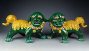 Pair Of Chinese Antique Yellowandgreen Coloring Porcelain Foo-dog Statues