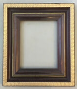 Vintage Gesso Wooden Deep Picture Frame14andrdquo X 16andrdquogold Giltcherry Stain