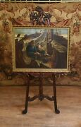 Victorian Oil Painting Portrait Girl And Fisherman Antique 1873