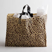 Clearance Sale Large Leopard Frosted Plastic Bags Gift Party Merchandise Lot 25