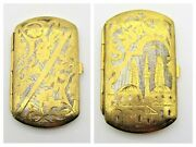 Antique Persian Damascene Cigarette Case Mosque And Floral Hand Carved