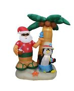 7 Foot Tall Christmas Inflatable Santa Claus Penguin Palm Tree Blowup Decoration