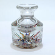 Antique Czech Bohemian Deviland039s Fire Paperweight Inkwell Or Perfume Bottle - Gl