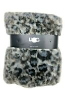 Ugg Bobcat Faux Fur Throw Blanket In Grey Charcoal/blue/brown 50 X 70 150