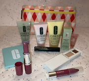 Clinique 10 Piece Skincare And Makeup Gift Set With Bag New Travel Size