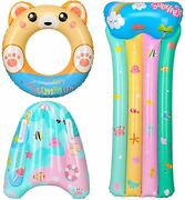 Pool Floats, 3pcs Water Pool Toys For Kids, Inflatable Bear Swimming Ring Tubes