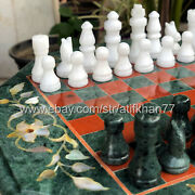 Green Marble Chess Set With Board Game Handmade Inlay Side Table Living Room